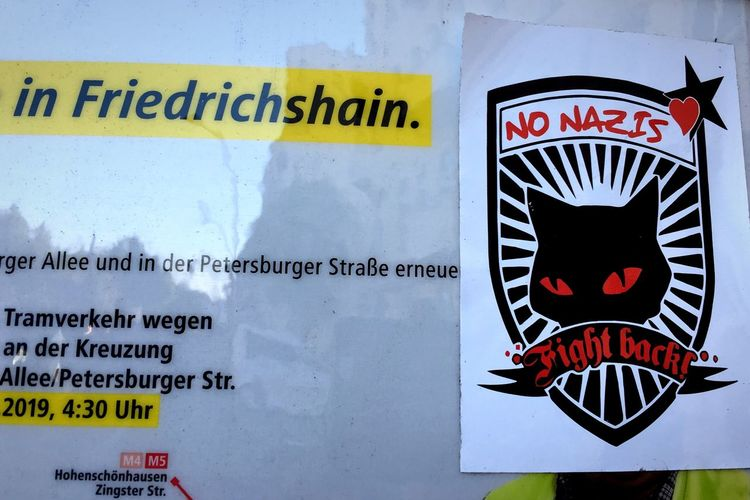 in Friedrichshain. No Nazis Tram Station  Sign Berlin No People Sticker Fight Back No Nazis