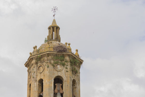 Puente La Reina Architecture Bell Tower Building Exterior Built Structure Cross Day History Low Angle View Navarra No People Outdoors Place Of Worship Religion Sky Spirituality