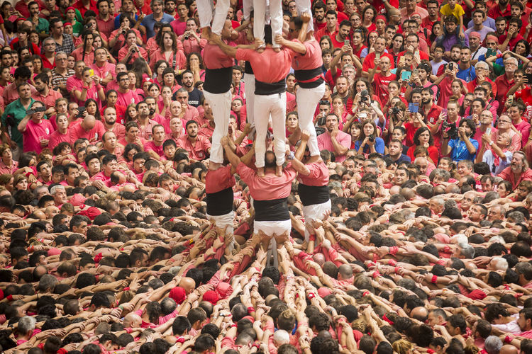 High Angle View Of Human Pyramid During Festival