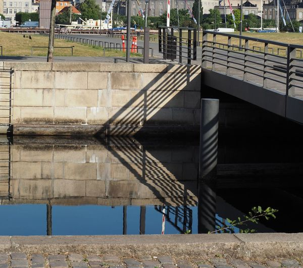 Architecture Barrier Bridge Bridge - Man Made Structure Building Exterior Built Structure Connection Day Footpath Nature No People Outdoors Railing Reflection Shadow Staircase Sunlight Water