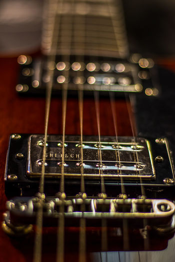 Close-up of guitar strings