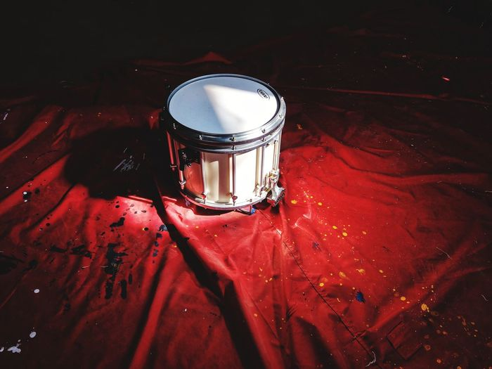 High angle view of illuminated drum on table