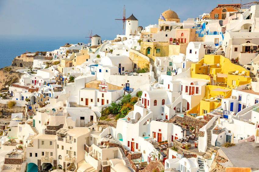 Greece Santorini Oia Thira Building Exterior Architecture Built Structure Building City Residential District Water Sea Nature Day Sky High Angle View Crowd Town Community Crowded House Clear Sky Travel Destinations Outdoors TOWNSCAPE