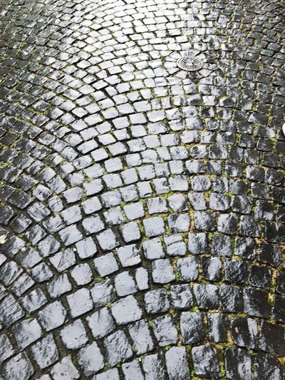 Road Wet Cobblestones Wet Wet Street Cobblestone Pattern Full Frame Stone Material Backgrounds Textured  History No People Day Concentric Outdoors
