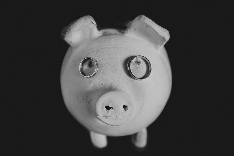 Indoors  Studio Shot Black Background Representation Close-up Still Life No People Copy Space Toy Single Object Cut Out Portrait Human Representation Front View Looking At Camera Art And Craft Blackandwhite Pig Rings Wedding Ring EyeEmNewHere