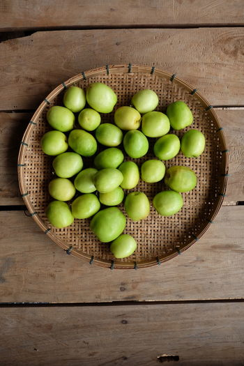 Basket Day Directly Above Food Food And Drink Freshness Fruit Green Color Healthy Eating High Angle View No People Phutthamonthon Still Life Table Wood - Material Jujube