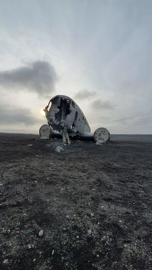 Abandoned airplane wrack in iceland