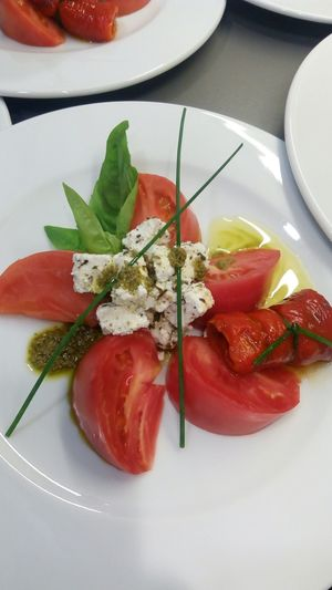 Salad Tomato Cheese Peppers Olive Oil Chives Basil Thyme Oregano Party