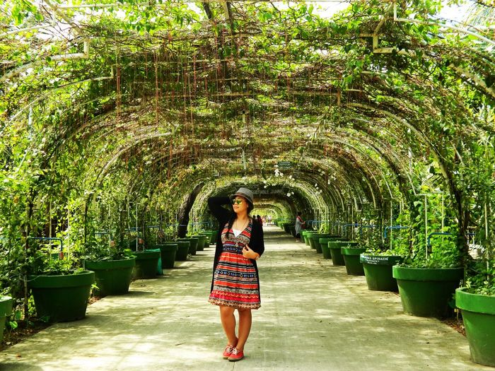 Full Length Of Woman Standing On Walkway Covered With Creeper Plants
