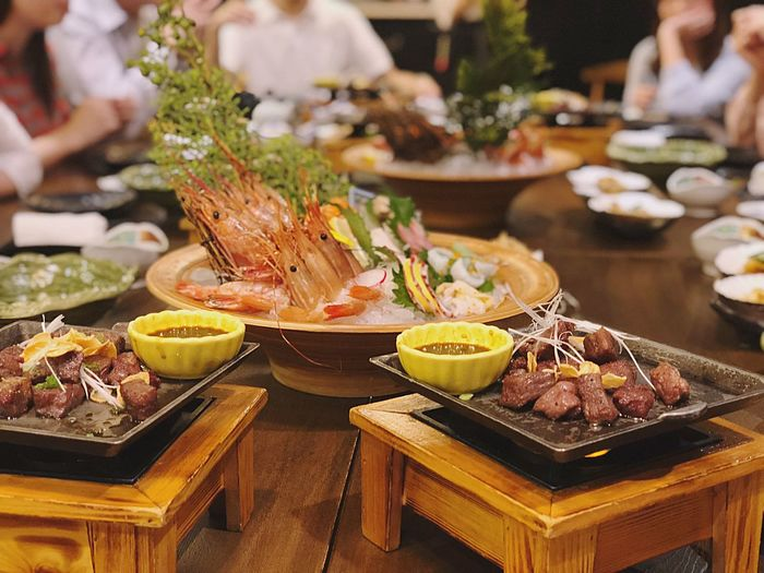 Close-up of food on table in restaurant