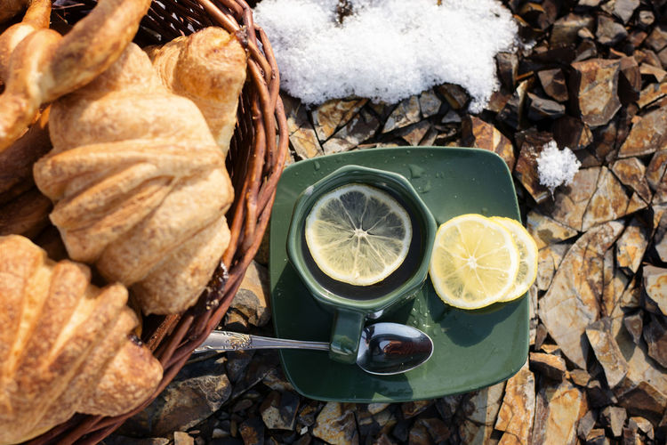 Cup, lemon, tea, fresh, picnic, croissants, rocks, outdoors, day, light, nature, holiday