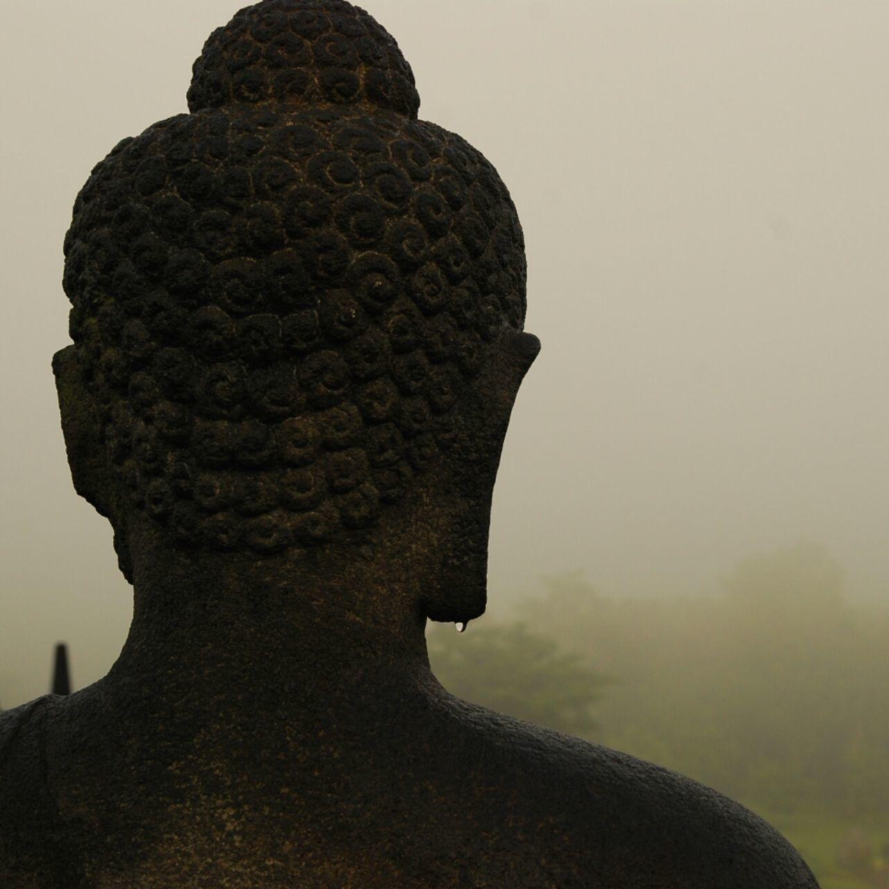 Close-Up Of Buddha Statue At Borobudur During Foggy Weather