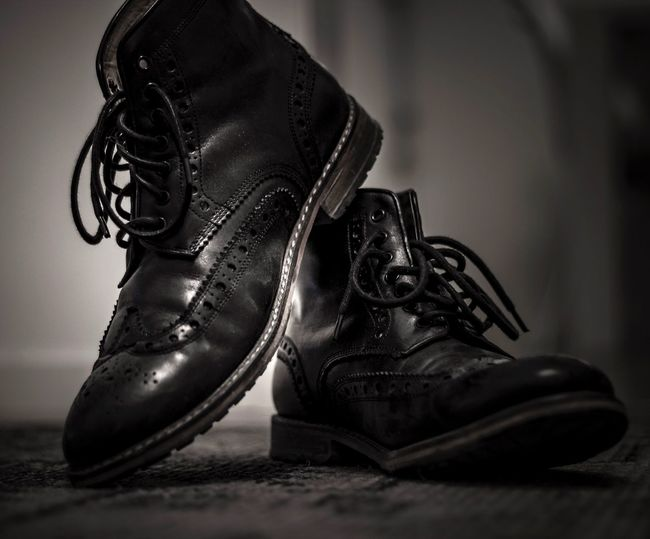 Boots for walking Shoe Close-up Indoors  Still Life Shoelace Pair Focus On Foreground No People Day Narrow Depth Of Field