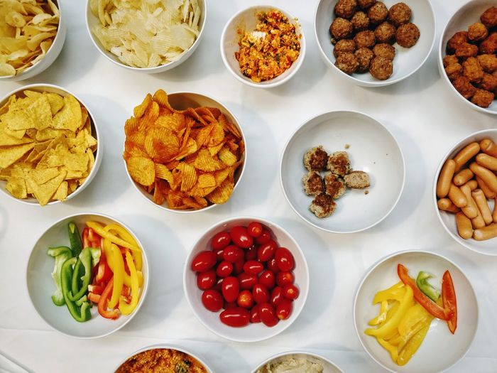yum Healthy Eating Neat Plate Variation Directly Above Studio Shot High Angle View Choice Close-up Food And Drink