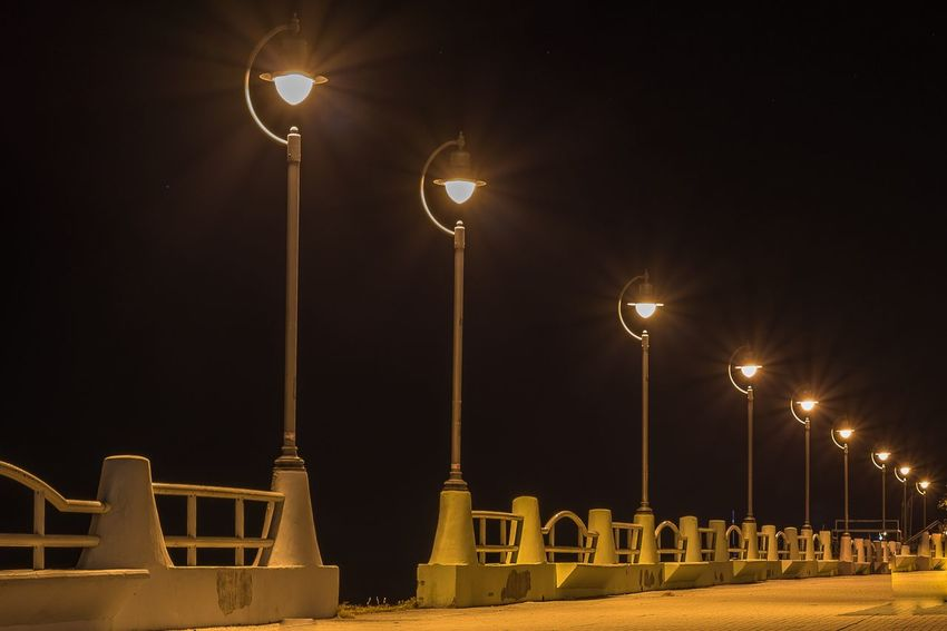 Lamps in the night Night Illuminated Street Light Lighting Equipment In A Row Sky No People Outdoors Floodlight Moon