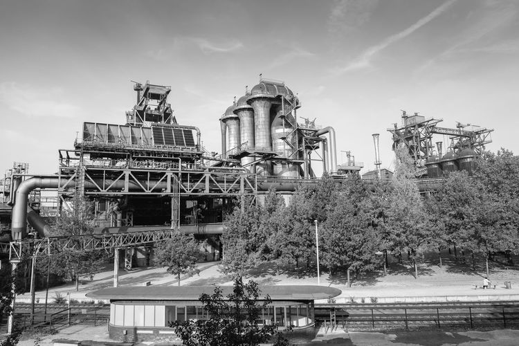 Waiting Architecture Built Structure Building Exterior Industry Outdoors Tree Nature Sky Building City Factory Abandoned Landschaftspark Duisburg-nord Germany German Deutschland Single Person Trees Derelict Metal Industry Industrial Blackandwhite Monochrome Black And White