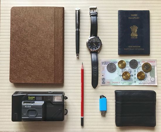 Complete Man Mens Essentials Purse, Utilities Pendrive Camera - Photographic Equipment Packing My Suitcase Passport Mens Style Mens World Pen Diary Table Indoors  Still Life No People Arrangement Directly Above Pen Organization Pencil Time Neat EyeEmNewHere My Best Travel Photo A New Beginning