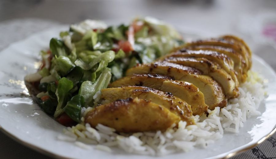 Food Plate Close-up Healthy Eating Chicken Meat Tumeric Basmati Rice Salad