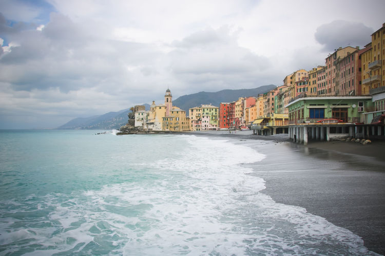 Water Building Exterior Built Structure Architecture Sea Nature Sky Day No People Beauty In Nature Cloud - Sky Building Beach Outdoors Riviera Waves Italian Riviera Landscape Seaside Mediterranean Sea Waterfront Mountain City Land Travel Destinations Cloudy