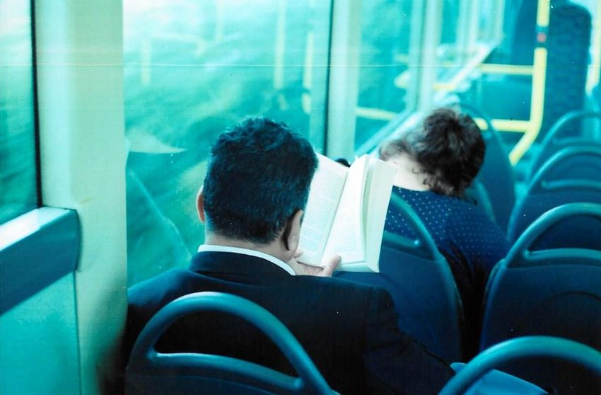 Reading in Reading Commuting Filmcamera Film Photography Traveling 35mm Film Man Bus Filmisnotdead Analogue Photography Taking Photos