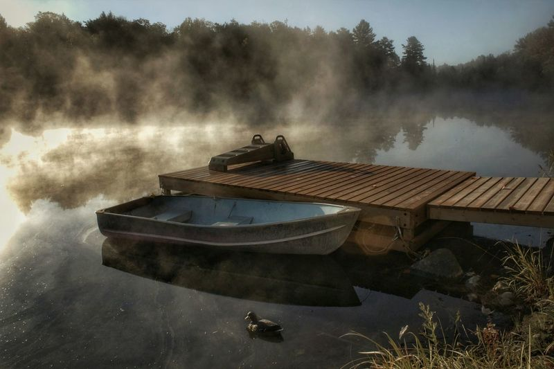 Row, row, row your boat... Outdoors Nature Beauty In Nature Light And Shadow Cottage Country Riverside Sunny Day Misty Morning Sunrise Reflection Boat Dock Decoy Ontario, Canada Water Nautical Vessel The Great Outdoors - 2018 EyeEm Awards The Traveler - 2018 EyeEm Awards 50 Ways Of Seeing: Gratitude 2018 In One Photograph