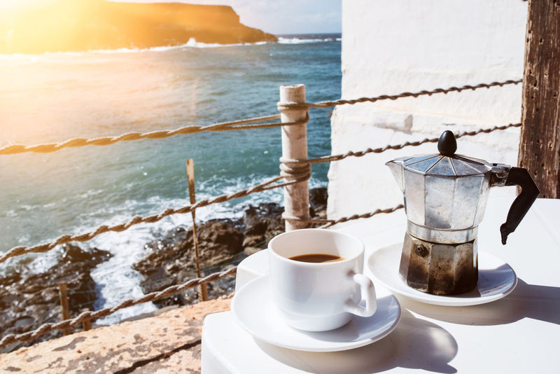 Coffee Moka Pot SPAIN Sunlight Caffettiera Coffee Cup Day Drink Food And Drink Horizon Over Water Italian Coffee Maker No People Outdoors Refreshment Sea Sky Spray Summer Table Traditional Waves