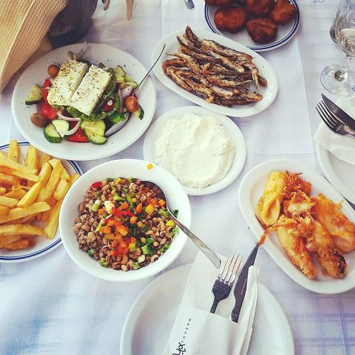 Food And Drink Ready-to-eat Food Indulgence Freshness Table Temptation Directly Above Healthy Eating Greek Food Greek Salad Mediterranean Food Mediterranean Lifestyle Mediterranean Diet Seafoods Lifestyle Healthy Food Greece