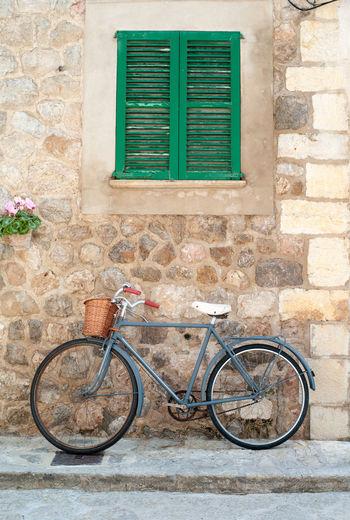 Idyylic street scene in Valldemossa on Mallorca island Baleares Balearic Islands Bicycle Bike Idyllic Idyllic Scenery Majorca Majorca, Spain Romantic Scenery SPAIN Street Scene Travel Destinations Valldemossa Vintage