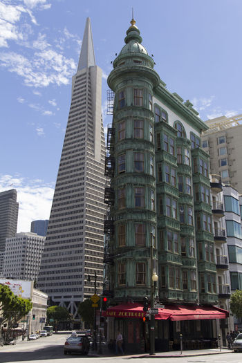 Architecture Building Exterior Built Structure Cafe Zoetrope City Columbus Tower Day Low Angle View No People Outdoors San Francisco San Francisco, California Sky Skyscraper Transamerica Pyramid TransAmericaBuilding