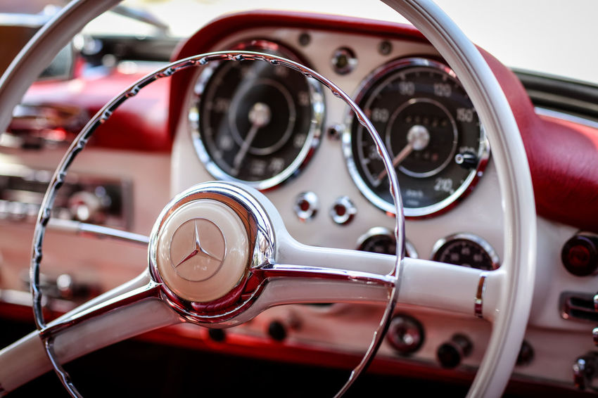 Mercedes Mercedes Car Car Interior Chrome Dashboard Day Luxury Mercedes Benz Motor Vehicle No People Retro Styled Selective Focus Speedometer Steering Wheel Transportation Vintage Car Vintage Cars