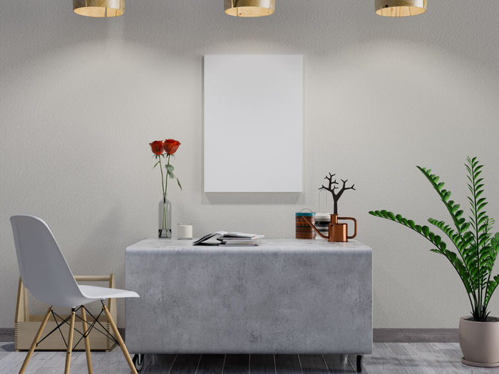 Mock up poster in living room Plant Table Indoors  Potted Plant Seat Wall - Building Feature No People Lighting Equipment Chair Nature Absence Business Technology Office Electric Lamp Growth Home Showcase Interior Home Interior Furniture Modern Luxury Houseplant Poster Living Room