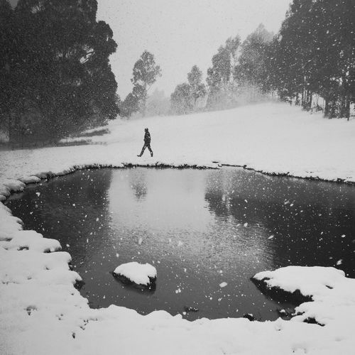 Snow Snow ❄ Snowing Landscapes With WhiteWall Ladyphotographerofthemonth Monochrome Photography IPS2016People Snowscape Snowsnowsnow.  Reflection Reflections Reflection_collection Reflected Glory Man Walking Around Walk Walking Blackandwhite Black And White Black & White Blackandwhite Photography Black&white Black And White Photography Blackandwhitephotography Bnw
