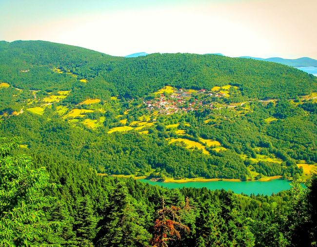 Urban Spring Fever Lake Village Forest Mountain Mountain And Lake Forest And Lake Village And Lake Yeah Springtime! A Moment Of Zen... Tranquility Tranquil Scene Peace And Quiet No People Plastira Lake Karditsa  Greece Greenery Lake View Mountain View Landscape Landscape_Collection Trees Shades Of Green