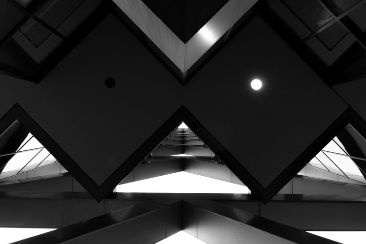 Black & White Architectural Feature Architecture Backgrounds Blackandwhite Built Structure Ceiling Close-up Day Geometric Shape Geometry Illuminated Indoors  Low Angle View No People Sky Structure EyeEm Ready