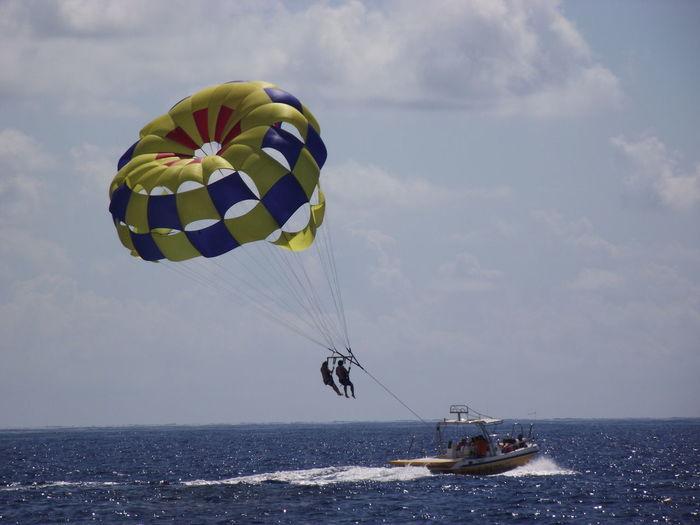 Water Sea Parachute Tourist Santorini Perissa Perissabeach Santorini Greece Outdoors Summer Beach Leisure Activity Paragliding