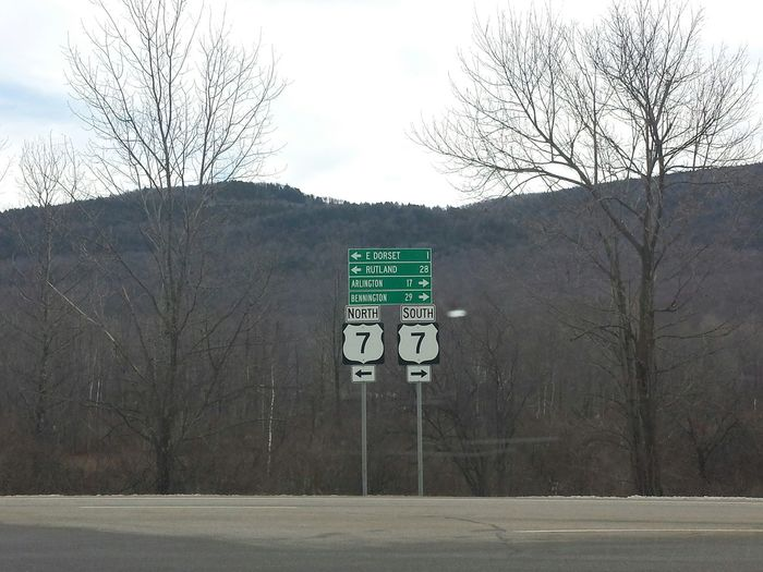 Highway Signs Center Focus Route 7 Highway Road Traveled Miles Distance North And South Up Or Down Which Way To Go? Mountain View Mountain Background Trees Greenmountainstate Open Edit