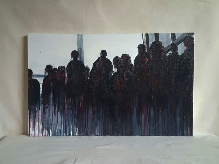 'Brethren of Hate' 20 x 32 inches. http://etsy.me/2lcHtPs Artgallery Artistic Expression Art, Drawing, Creativity Darkness And Beauty Darkart Textured  Art Abstract Darkness And Light Etsyseller Art And Craft People Large Group Of People Silhouette Gallery_of_all