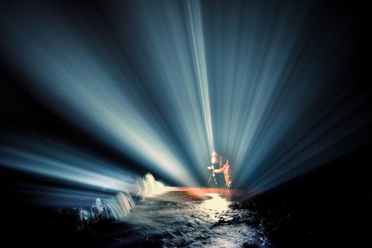 lightroom EyeEm Ready   Light Beam Arts Culture And Entertainment Sea Water Night People Flashlight One Person Young Adult Lightning Oil Pump Adult Outdoors