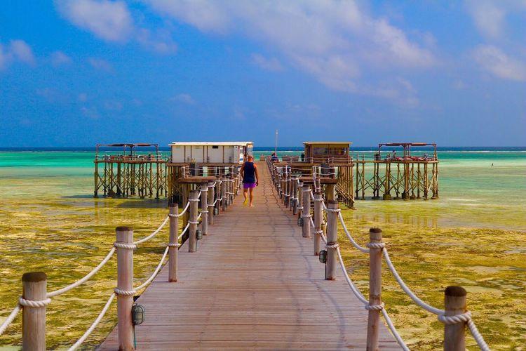 Pier Horizon Over Water Sea Beach Tranquil Scene Tranquility Tourism Zanzibar Paradise