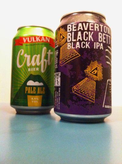 Craft Beer in cans: Vulkan Pale Ale + Beavertown Black Betty @ Home Bier Craftbeer Biers & Bars