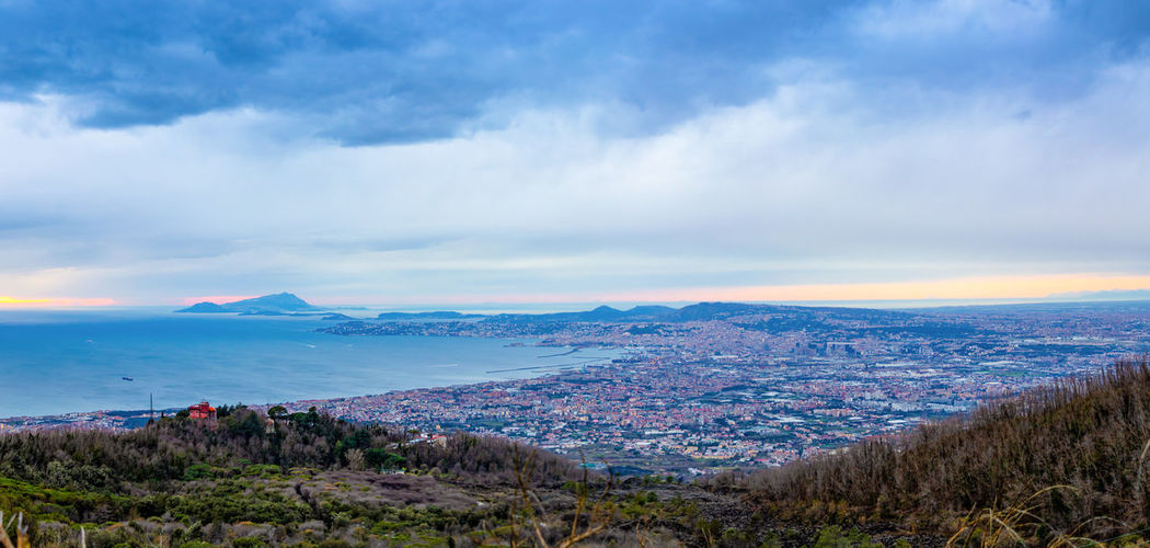 Pompeii  Italy Vesuvio Volcano Panorama Landscape City Mountain Nature Cloud - Sky Sky Scenics - Nature Environment Beauty In Nature Plant Architecture No People Building Exterior Cityscape Tranquility Water Tranquil Scene Land Tree Built Structure Outdoors Mountain Range Sea Beach Coastline