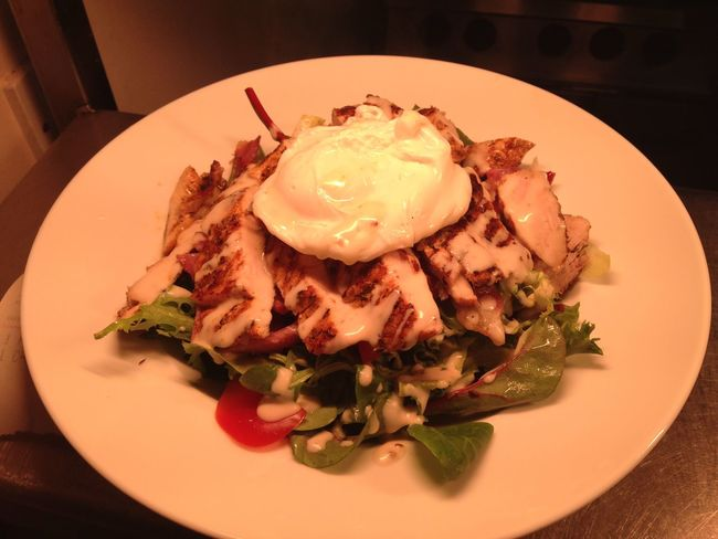 Chkn salad with poached egg yum 😋 Night Out Drinks Dinner