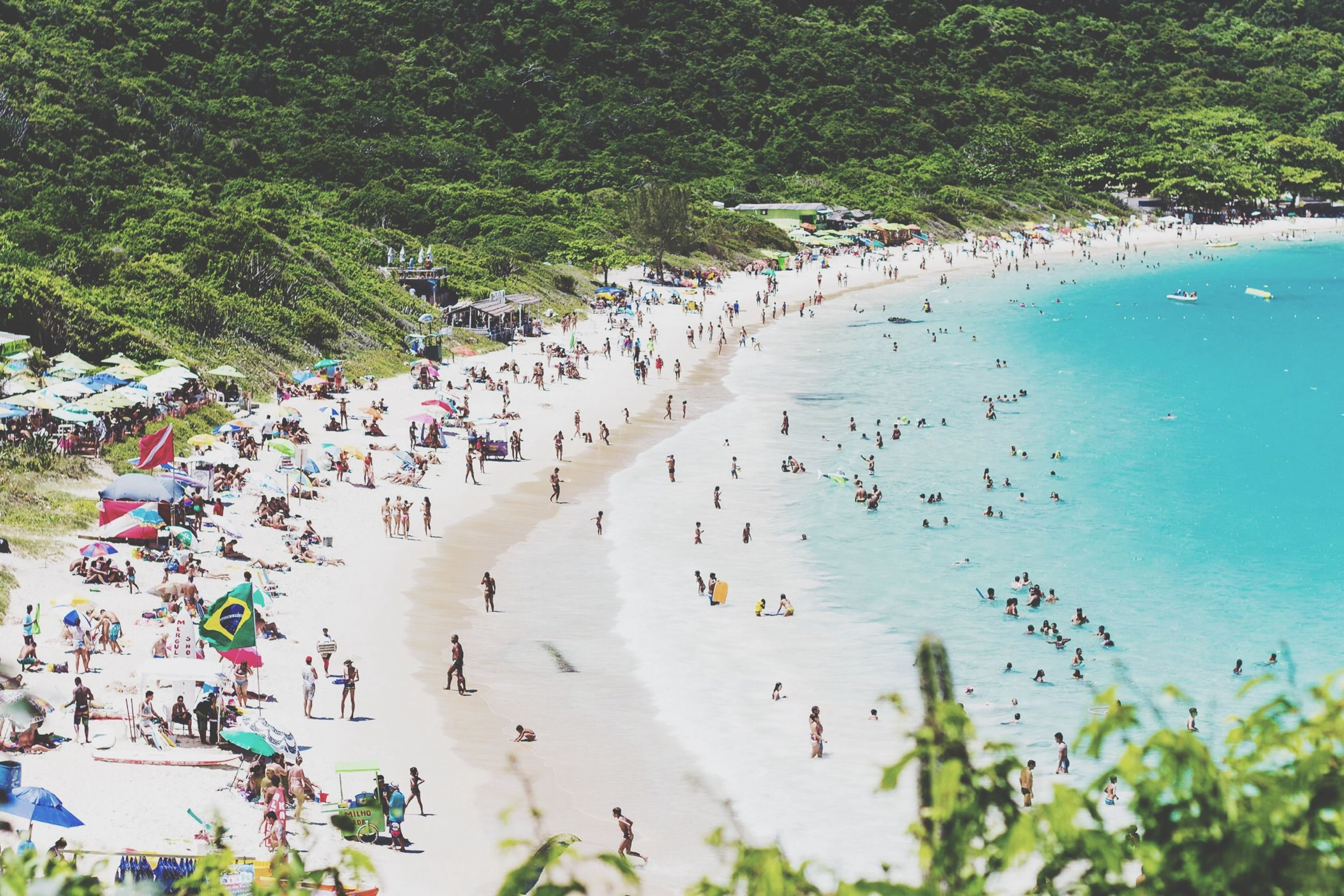 water, sea, beach, large group of people, high angle view, tree, shore, vacations, nature, leisure activity, lifestyles, beauty in nature, mixed age range, tranquility, day, scenics, horizon over water, sand, tourist