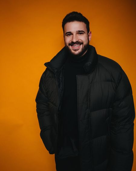 new ad, who dis? AdCampaign Blogger Fashion One Person Looking At Camera Portrait Smiling Happiness Clothing Standing Front View Men Waist Up Beard Emotion Young Adult Toothy Smile Teeth Studio Shot Adult Indoors  Fashion Beautiful People