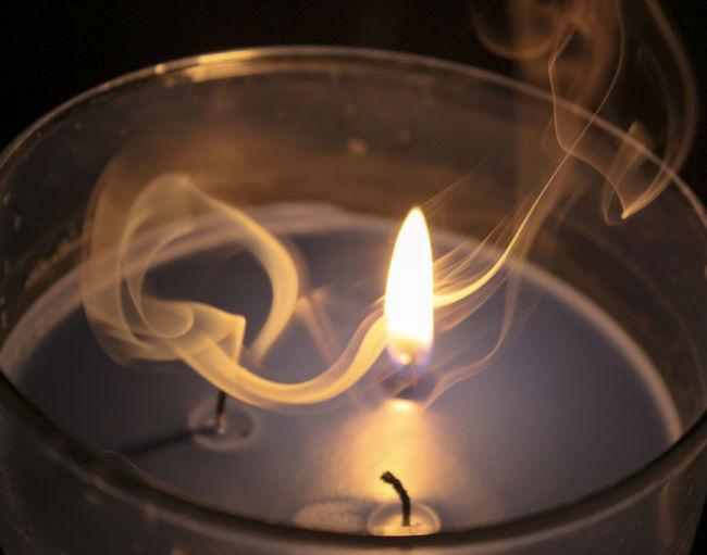 Burning Close-up Flame Heat - Temperature Illuminated Smoke Smoke Filled Sky Smoky
