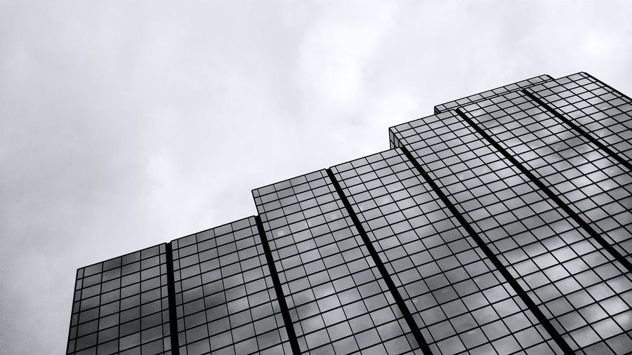 Monochrome Photography Glass Building Glass Building And The Sky Reflection Of The Sky♥ Reflection Of The Sky Monochrome Bnw Photography Black And White Photography Patterns & Shapes Patterns Architectural Design Lines And Patterns Light And Reflection