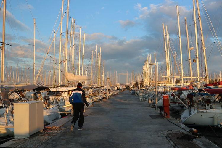 Activity Marina Older Man Port Run Runner Running Sailing Boat Sailing Boats Sport Yachts