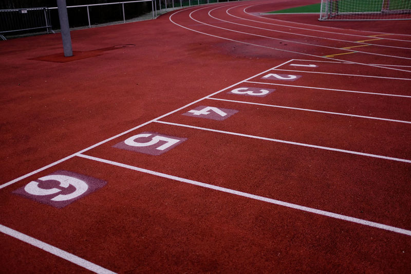 High angle view of empty track and field