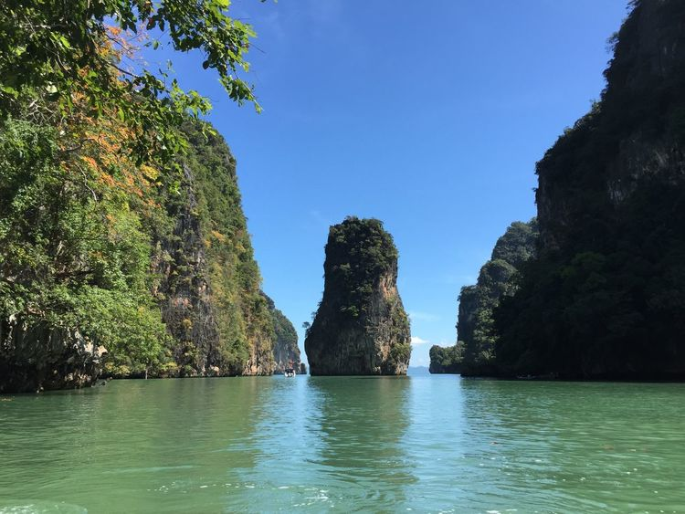 Canoeing among the limestone karst rocks Canoeing Clear Sky James Bond Limestones Nature Phang Nga Bay Phuket