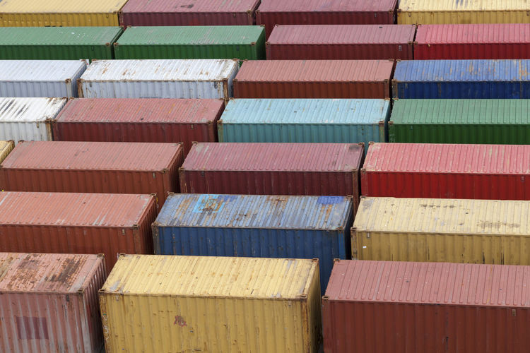 High Angle View Of Cargo Containers At Commercial Dock